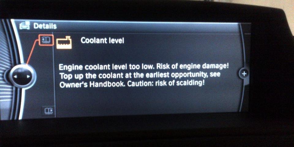 низкий уровень охлаждающей жидкости, BMW