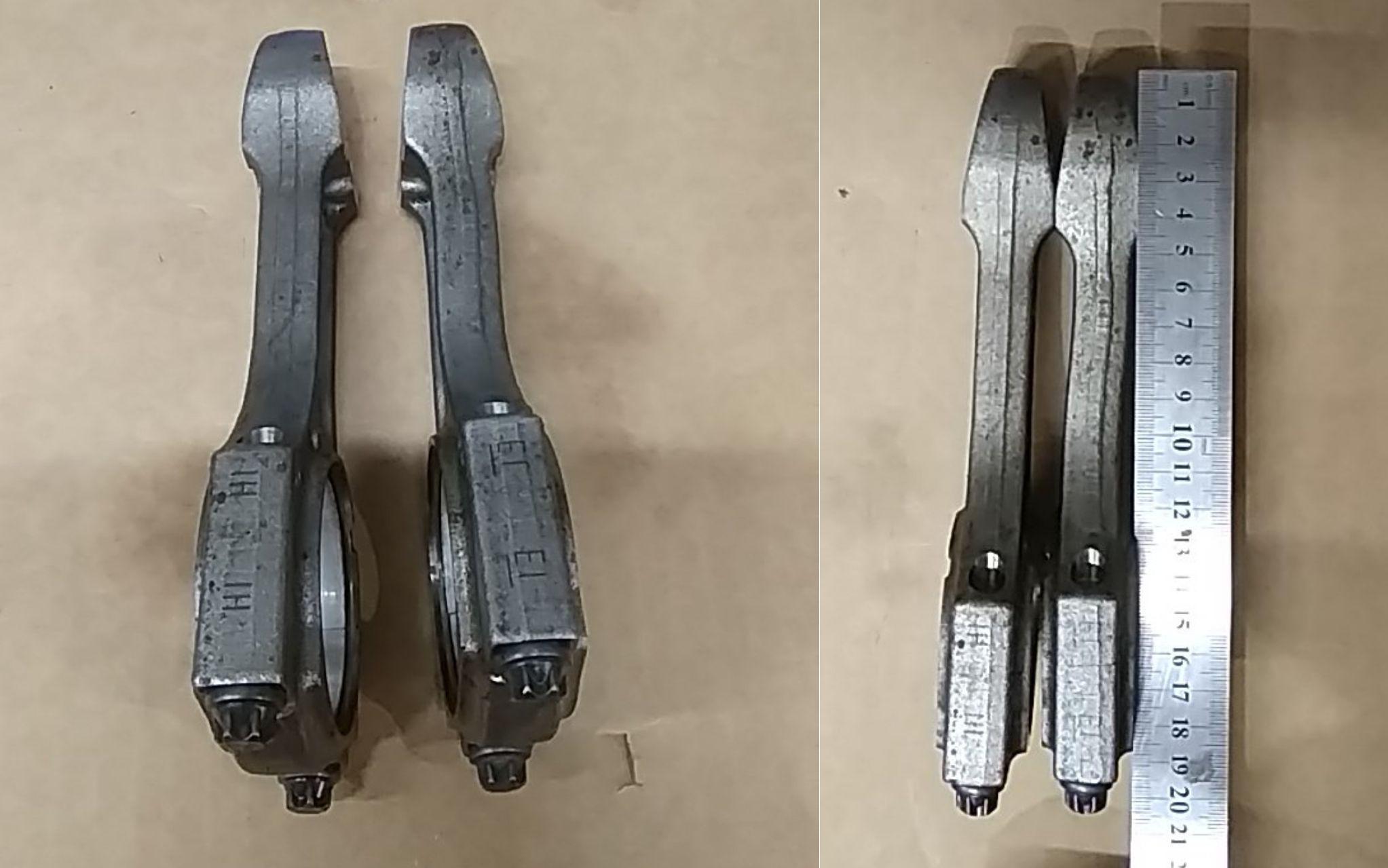 Деформированный после гидроудара шатун справа