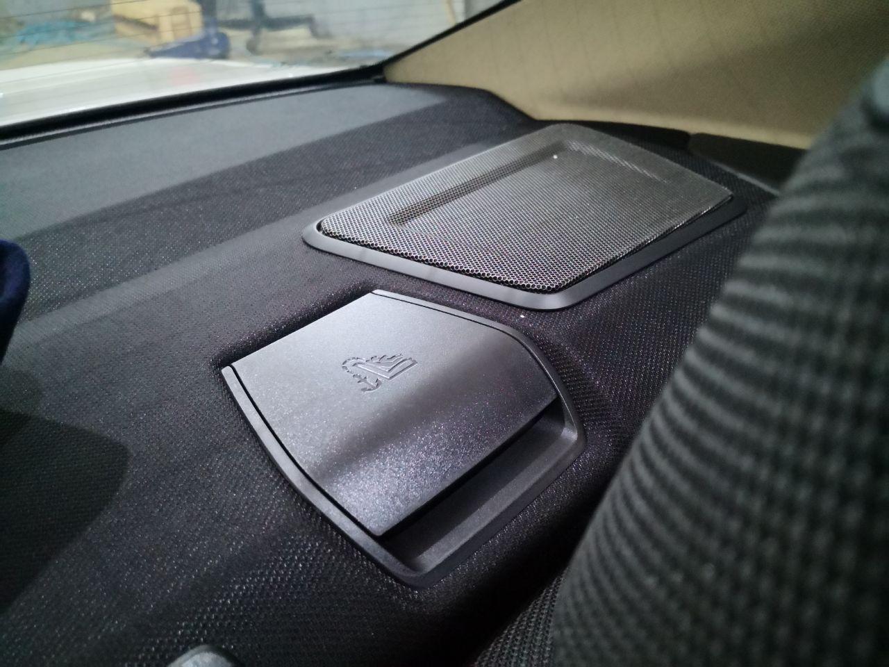 новый динамик в панели за спинками задних сидений