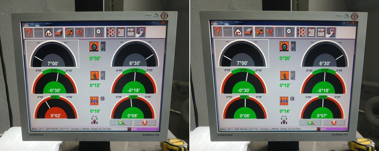 передняя ось, углы установки колес до и после схода-развала