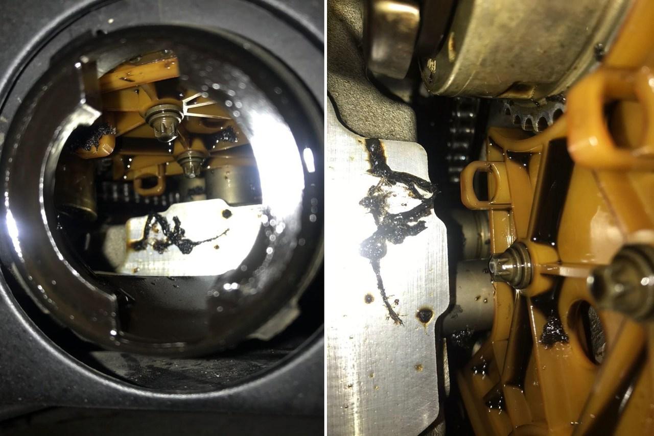 Остатки ремня в двигателе