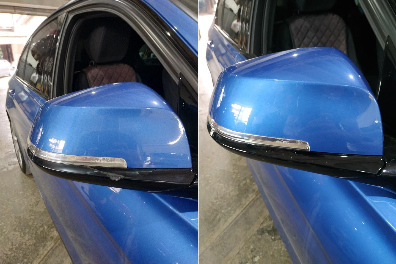 Крышка зеркала до и после ремонта